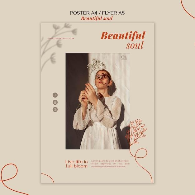 아름다운 영혼 광고 포스터 템플릿 무료 PSD 파일