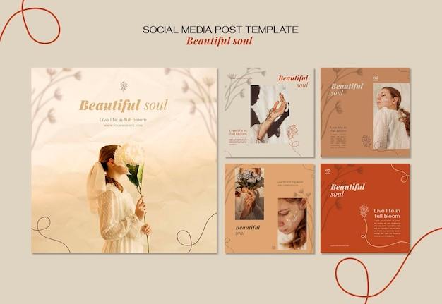 Bellissimo modello di post sui social media dell'annuncio dell'anima Psd Gratuite