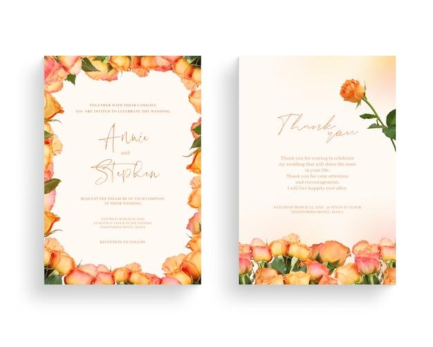 Beautiful spring flower frame, invitation, wedding card, thanks greeting. Premium Psd