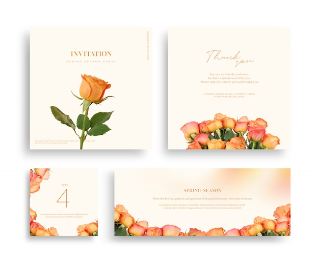 Beautiful spring flower frame, invitation, wedding card, thanks greeting Premium Psd