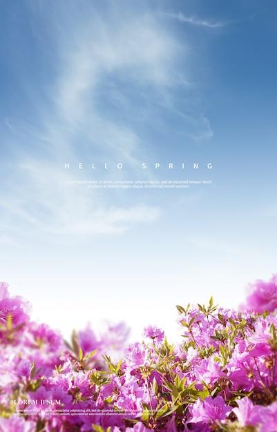 Красивые весенние цветы фон Premium Psd