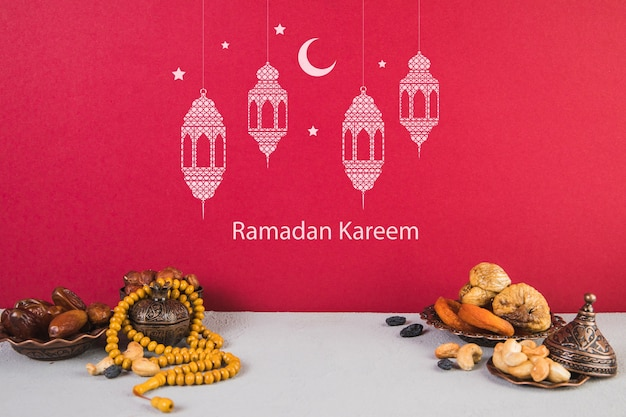 Beautiful still life with ramadán elements Free Psd