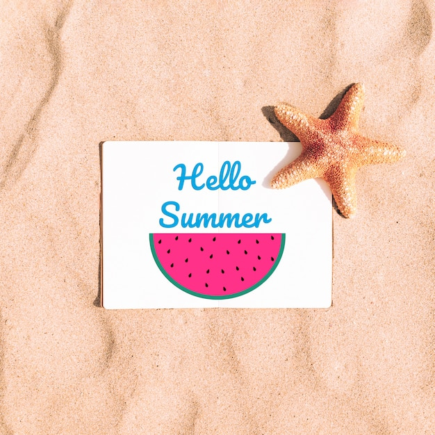 Beautiful summer mockup with watermelon Free Psd