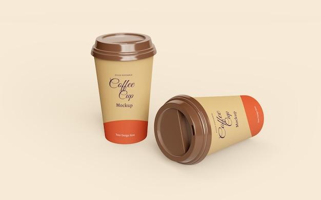 Красивый макет бумажных кофейных чашек на вынос Premium Psd
