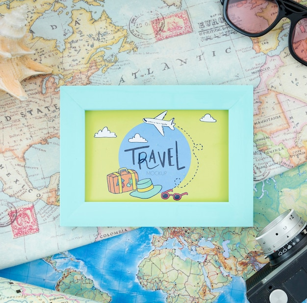 Bellissimo concetto di viaggio mock-up Psd Gratuite