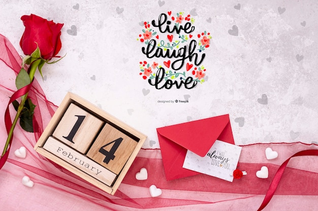 Beautiful valentine's day concept mock-up Free Psd