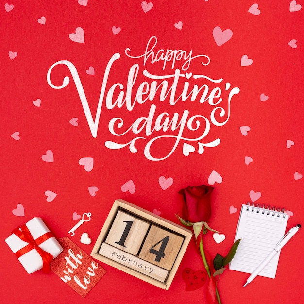 Beautiful valentine's day concept with rose Free Psd