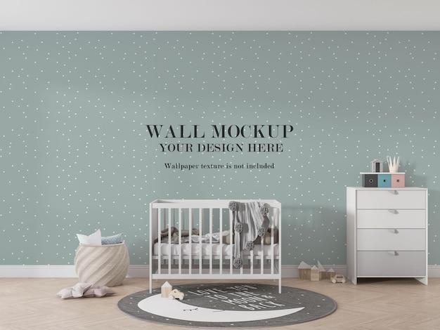 Красивый дизайн макета стены за детской кроваткой Premium Psd