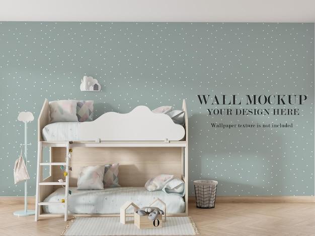 Красивый дизайн макета стены за двухъярусной кроватью Premium Psd