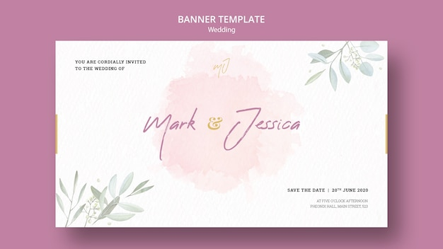 Beautiful wedding banner template mock-up Free Psd