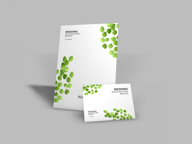 Beautiful wedding card mockup template Premium Psd