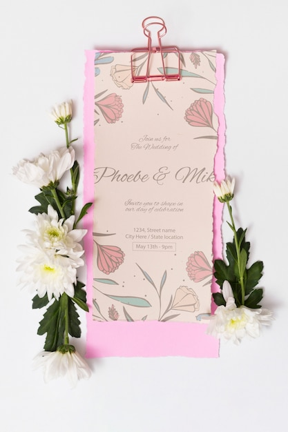 Beautiful wedding card mockup Free Psd