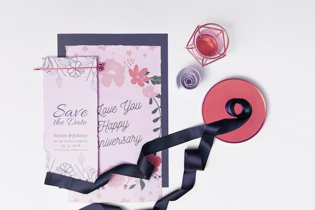 Beautiful wedding card mockup Free Psd