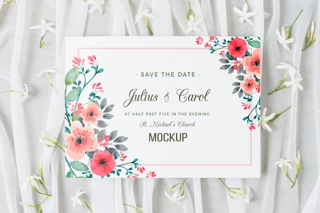 Beautiful wedding concept mock-up Free Psd