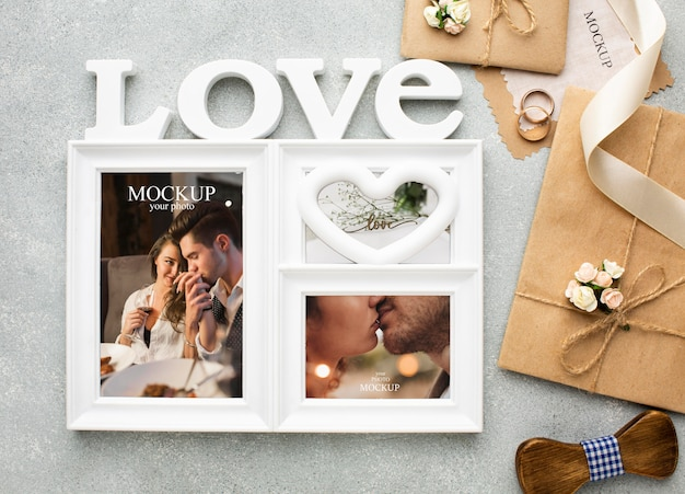 아름다운 결혼식 개념 모형 무료 PSD 파일