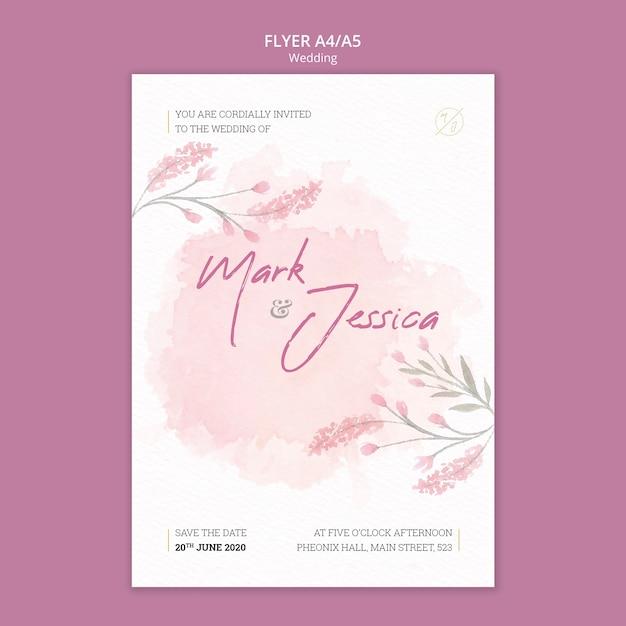 Beautiful wedding flyer mock-up Free Psd