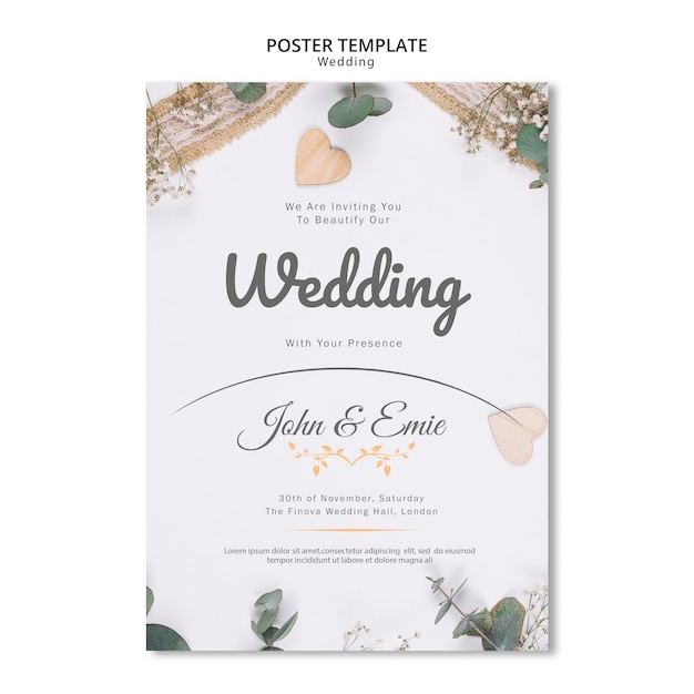 Beautiful wedding invitation with pretty ornaments template Free Psd