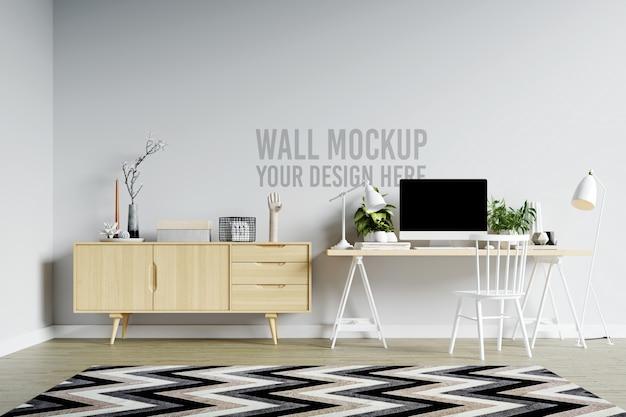 Beautiful white wall mockup interior workspace in minimalist scandinavian style Premium Psd