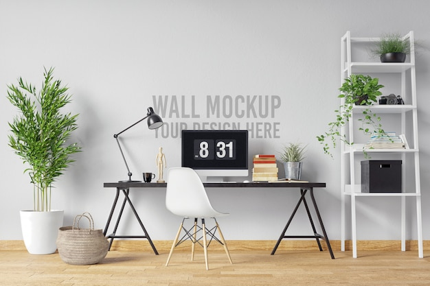 Beautiful white wall mockup interior workspace scandinavian style with plants and decoration Premium Psd