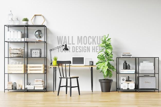 Beautiful white wall mockup interior workspace scandinavian style Premium Psd
