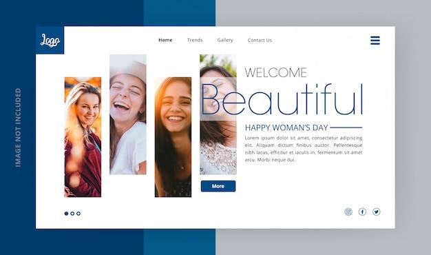 Beautiful woman's day landing page Premium Psd