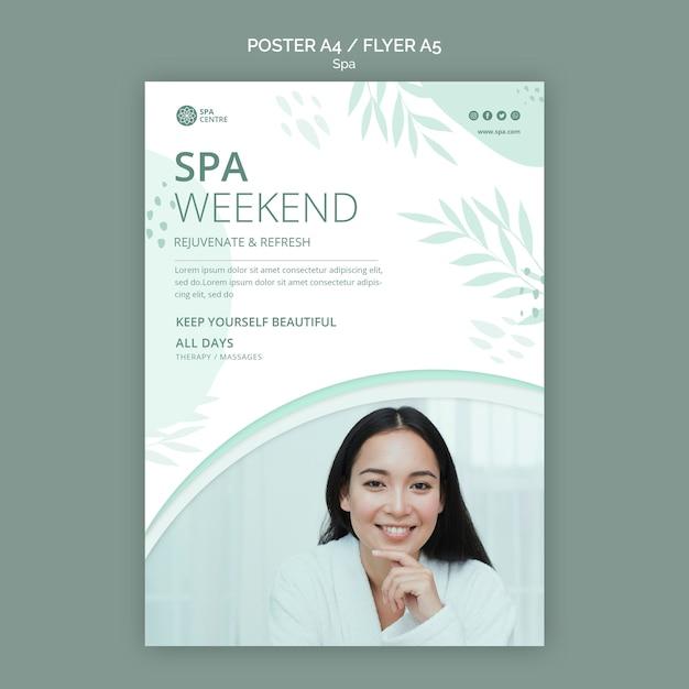 Poster di fine settimana spa bella donna Psd Gratuite
