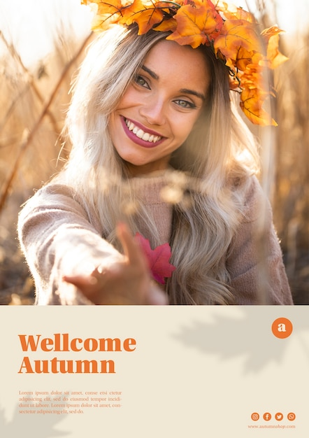 Beautiful woman with leaves crown web template Free Psd