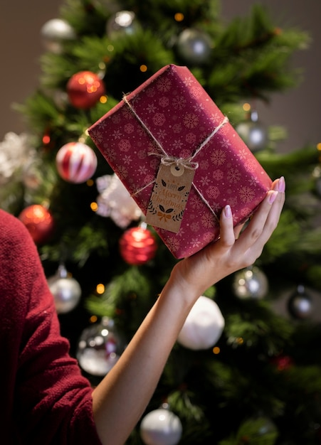 Bellissimo regalo incartato con etichetta e corda tenuta in mano Psd Gratuite