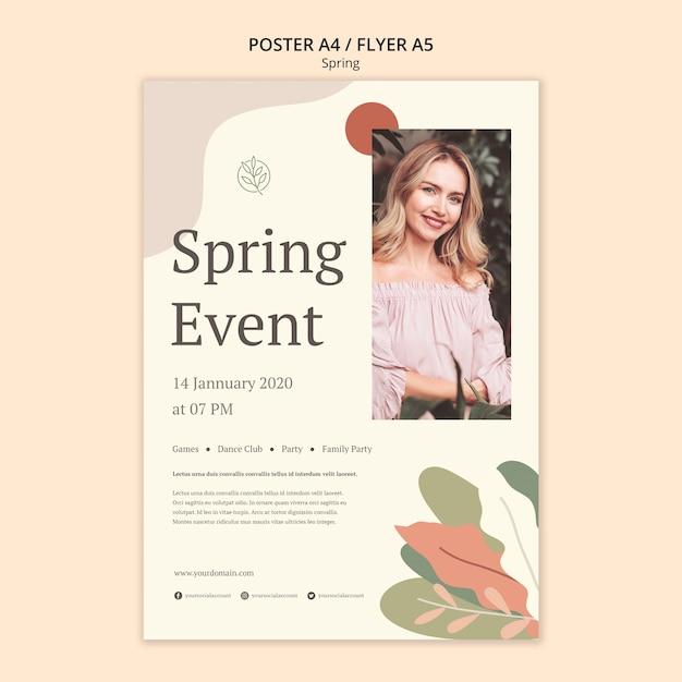 Красивая молодая женщина весенний фестиваль плакат Бесплатные Psd