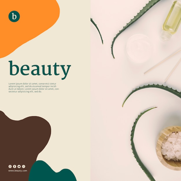 Beauty banner template with beauty products Free Psd