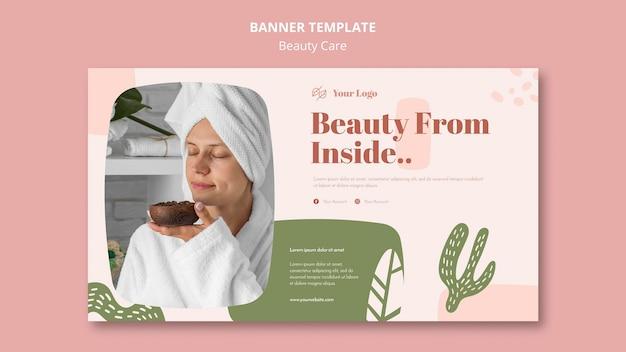 Modello di banner pubblicitario di cura di bellezza Psd Gratuite
