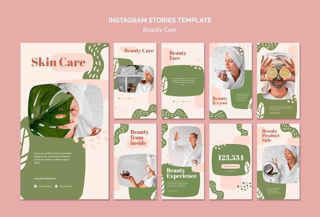 Modello di storie di instagram di cura di bellezza Psd Gratuite