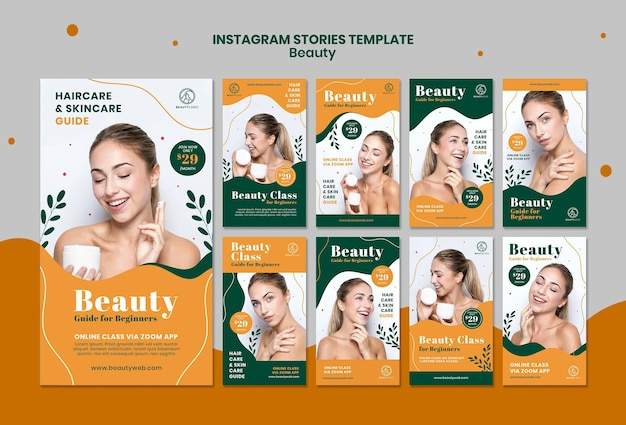 Beauty concept instagram stories template Premium Psd