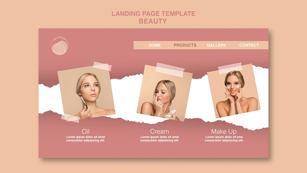 Beauty concept landing page template Free Psd