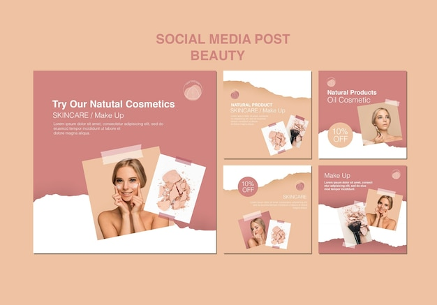 Beauty concept social media template Free Psd