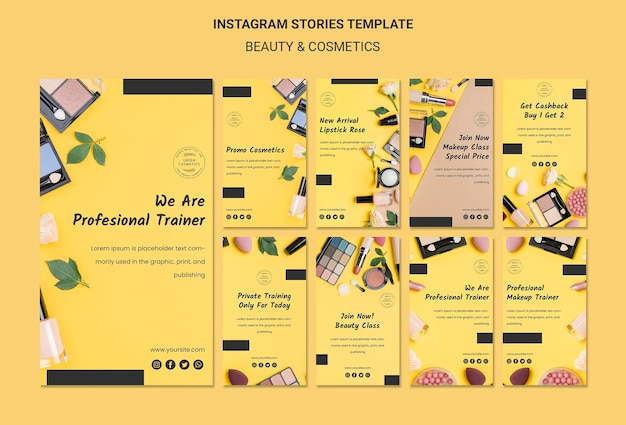 Beauty & cosmetics concept instagram stories template Free Psd