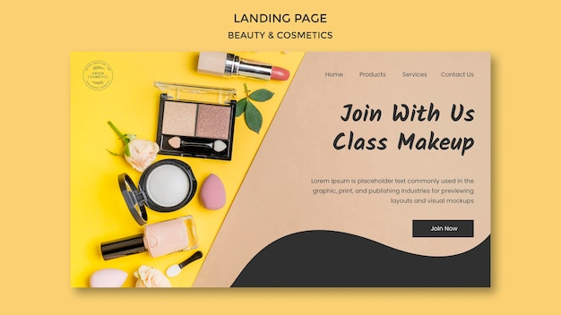 Beauty & cosmetics concept landing page template Free Psd