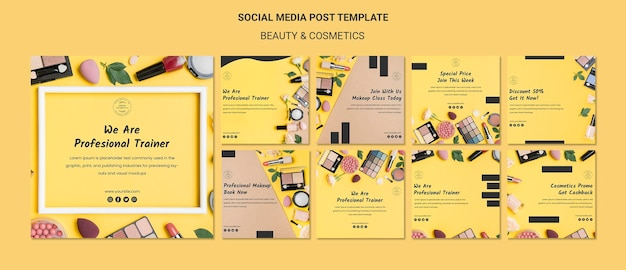 Beauty & cosmetics concept social media post template Free Psd