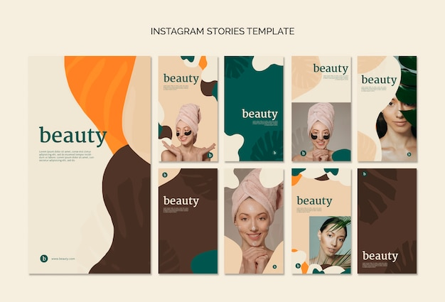 Beauty instagram stories template collection Free Psd