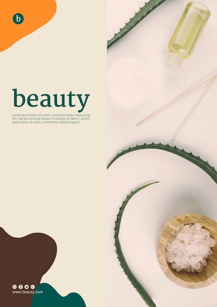 Beauty poster template with beauty products Free Psd