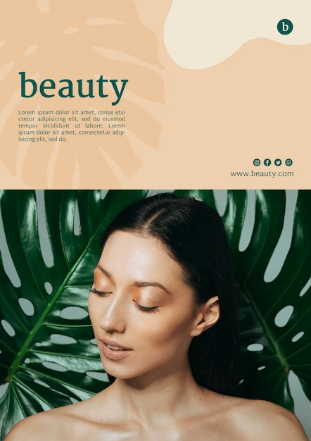 Beauty poster template with a woman Free Psd
