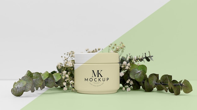 Beauty product cream with plant Free Psd