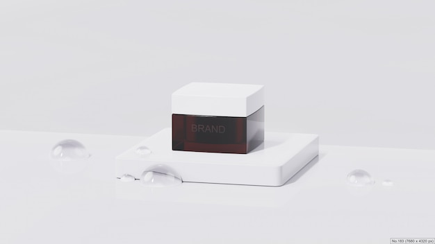 Beauty product on white podium with water bubble. 3d render Premium Psd
