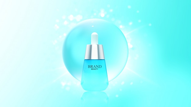 Beauty product with blue water bubble Premium Psd