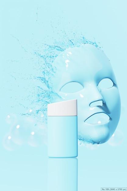 Продукт красоты с голубой водой всплеск листа маски. 3d визуализация Premium Psd