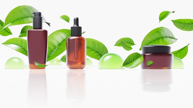 Beauty product with green tea leaves and  water drop Premium Psd