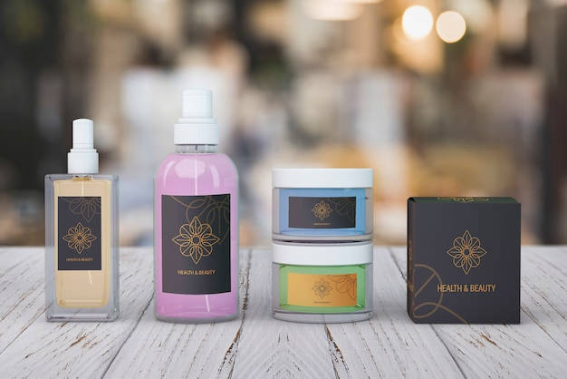 Beauty products mockup on blurred background Free Psd