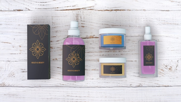 Beauty products mockup on wooden background Free Psd