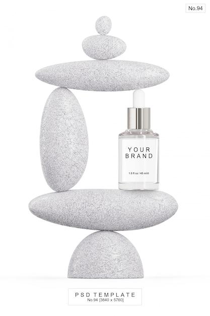 Beauty serum with stone. 3d render Premium Psd