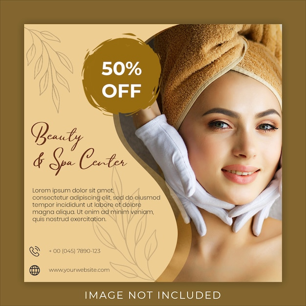Beauty and spa center post banner template Premium Psd
